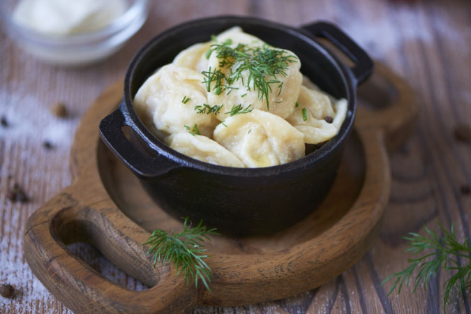 Traditional dumplings with beef and pork.<br>